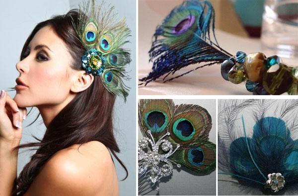 "pavline-pero-ukrashaem-prichesku Свадьба в стиле ""павлиньи краски"": аккуратно украшаем павлиньими перьями"