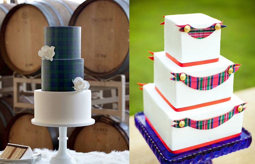 Свадебные торты с узором в клетку