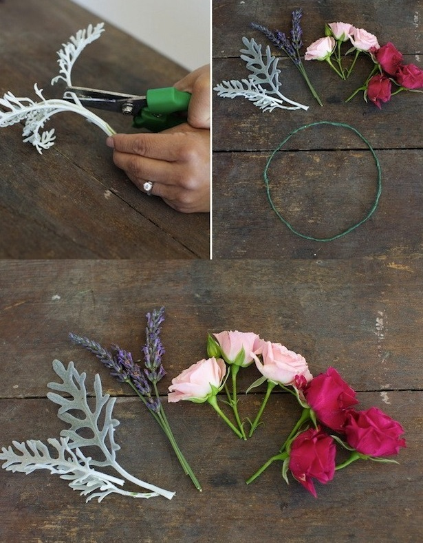 448 Мастер-класс: нежный венок для невесты из диких роз, васильков и лаванды