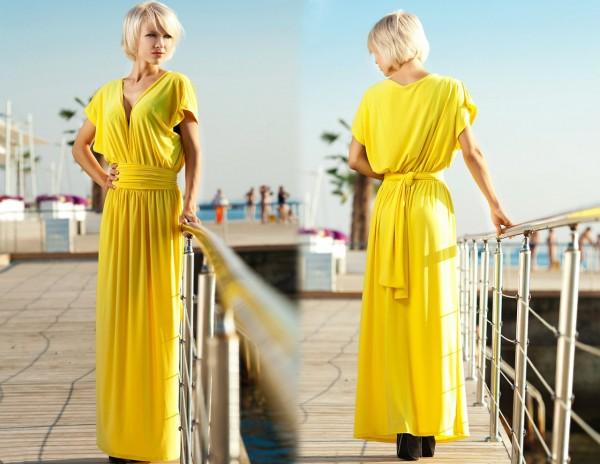 Мода 2015 года: желтое свадебное платье