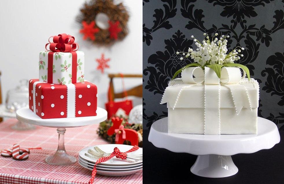 Идеи для зимней свадьбы: торт подарок