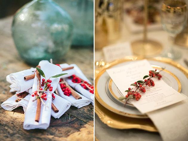 Красные ягоды для украшения зимней свадьбы