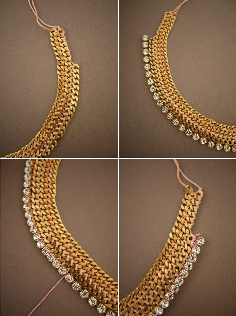 Prilozhite-tsepochku-so-strazami-k-dvum-drugim Мастер-класс: роскошное ожерелье для невесты собственными руками