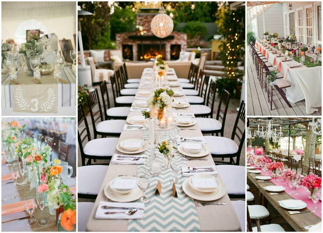 Как бюджетно украсить длинные столы на свадьбе