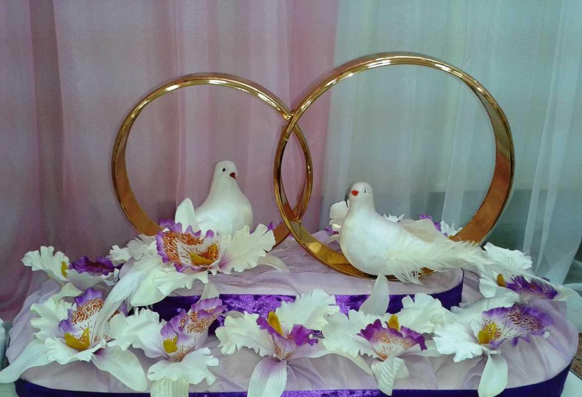 koltsa-dlya-avto-s-golubyami Виды декоративных колец для декора свадебного кортежа