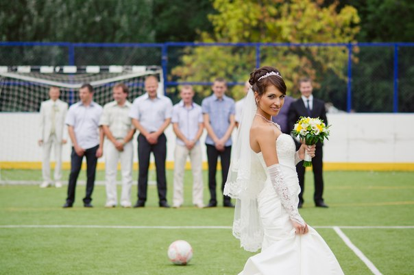 Football stadium wedding