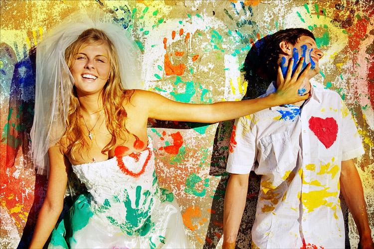 svadebnaya-fotosessiya-s-kraskami Идея для свадебной фотосессии с красками