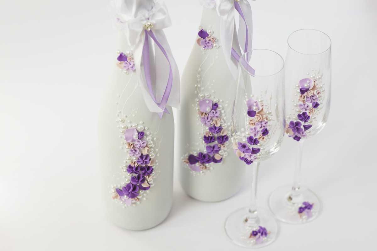 Оформление свадебных бокалов и бутылок