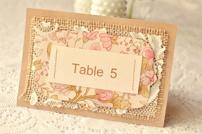 Винтажные карточки для столов на свадьбу