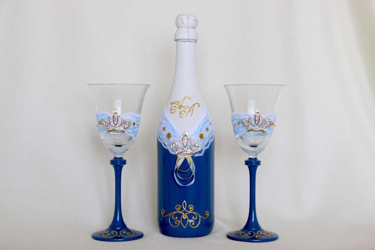 Oformlenie-svadebnyh-bokalov-i-butylok-7 Оформление свадебных бокалов и бутылок