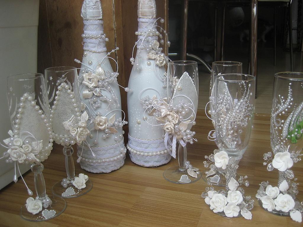 Украсить шампанское и бокалы на свадьбу своими руками фото