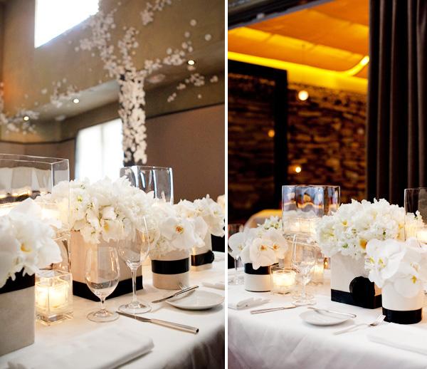 1-ofitsialnaya-svadba-v-stile-belo-chernyj Официально и довольно строгое оформление свадьбы в белом цвете с использованием черного декора