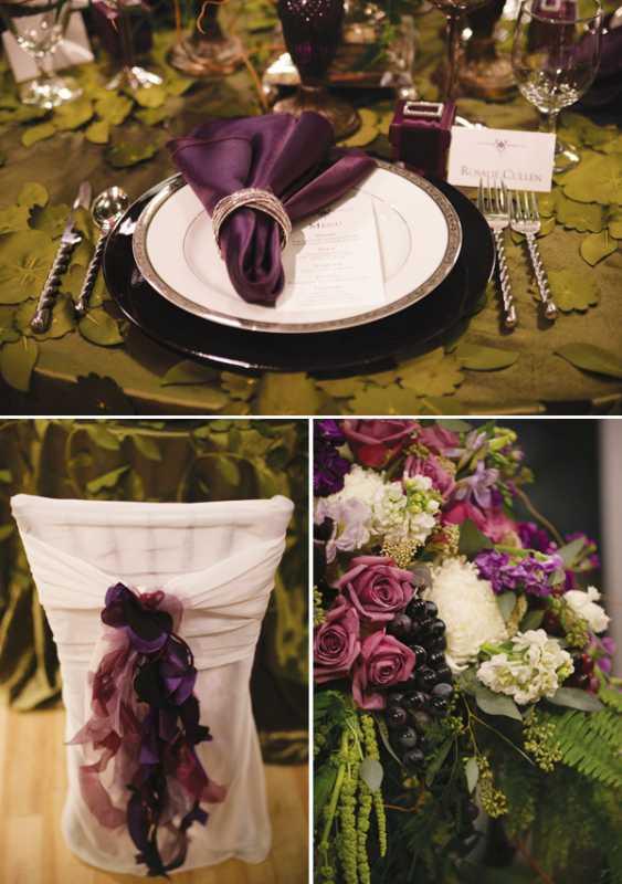 1-servirovka-svadebngo-stola-v-slivovom-tsvete Яркая сервировка свадебного стола в сливовом цвете в сочетании с зеленым оформлением