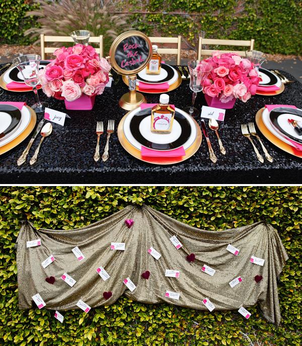 1-servirvoka-svadebnogo-stola-glemrok Блестки и розовый цвет в сервировки свадебного стола на торжестве в стиле Глэм Рок