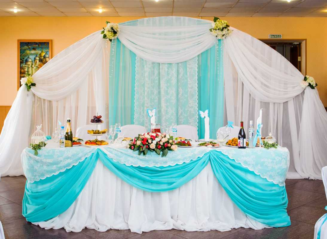 Бирюзовое оформление свадебного зала в летней пляжной тематике