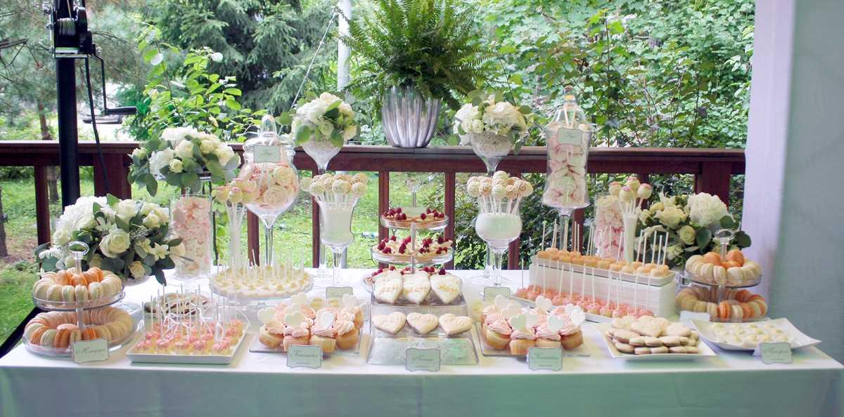 Свадьба в персиковом цвете, оформление Кэнди Бара для такого торжества