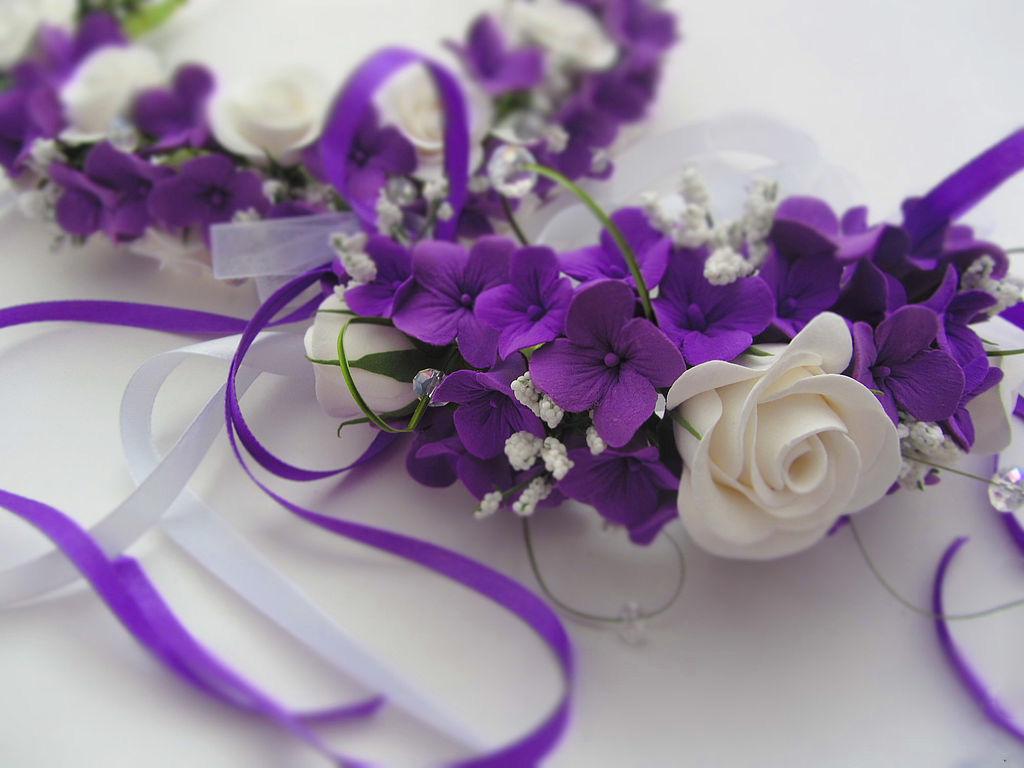 Картинки с фиолетовыми цветами и свадьбой