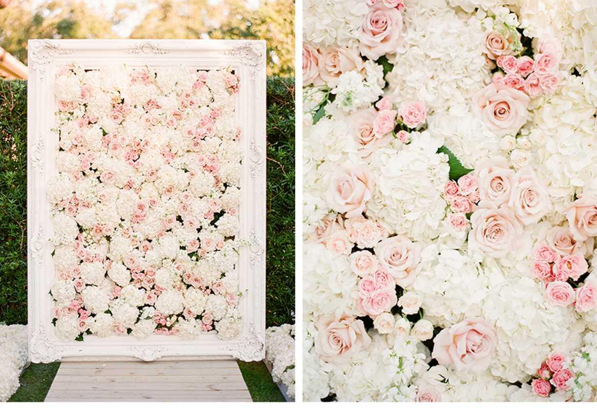 Декор из цветов на стену