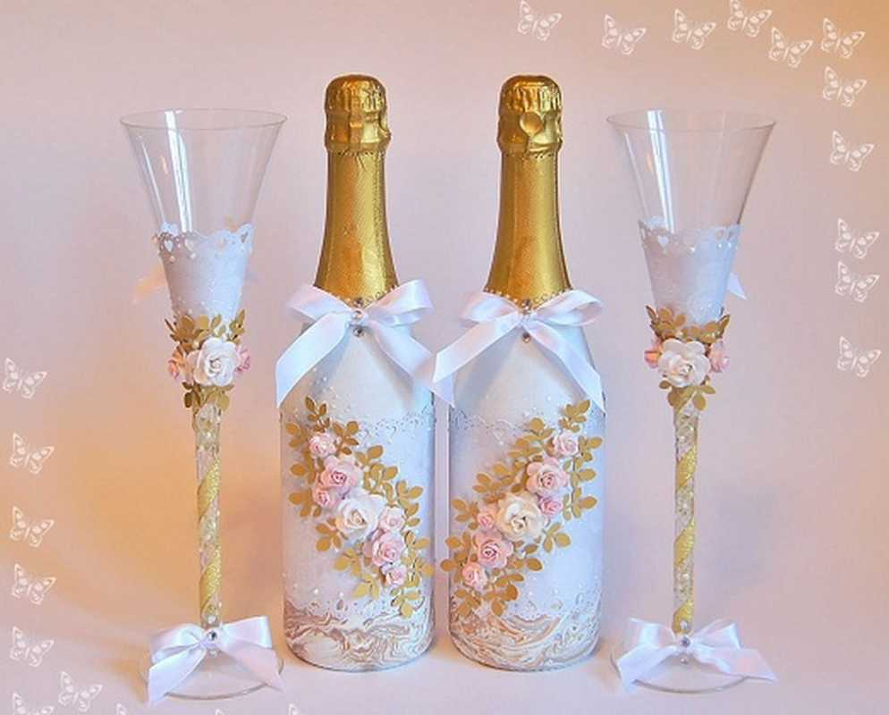 Оформление шампанского на свадьбу своими руками с фото