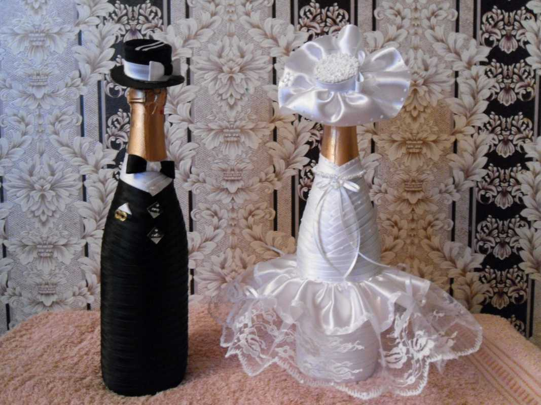 Сделать свадебную бутылку своими руками видео