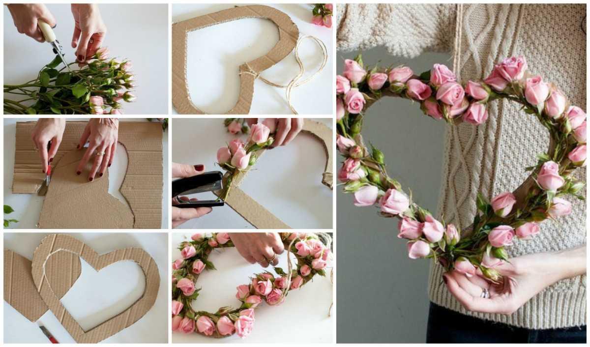 Сердца из цветов на свадьбу своими руками