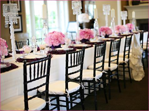 servirovka-stola-v-stile-shanel-3 Сервировка свадебного стола в стиле Шанель - простой способ сделать торжество изысканным и стильным