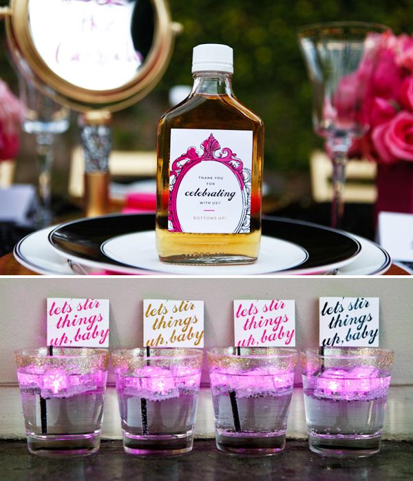 servirvoka-svadebnogo-stola-glemrok-2 Блестки и розовый цвет в сервировки свадебного стола на торжестве в стиле Глэм Рок
