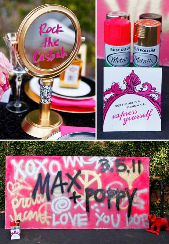 servirvoka-svadebnogo-stola-glemrok-5 Блестки и розовый цвет в сервировки свадебного стола на торжестве в стиле Глэм Рок