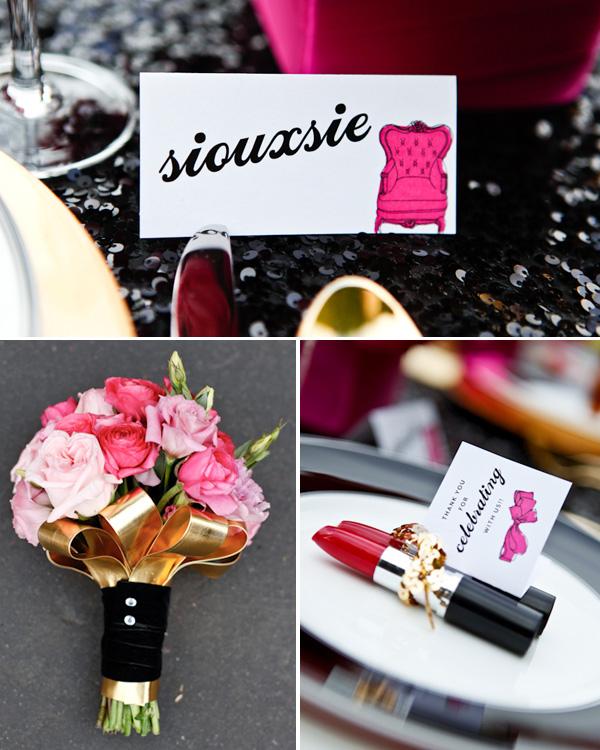 servirvoka-svadebnogo-stola-glemrok-7 Блестки и розовый цвет в сервировки свадебного стола на торжестве в стиле Глэм Рок