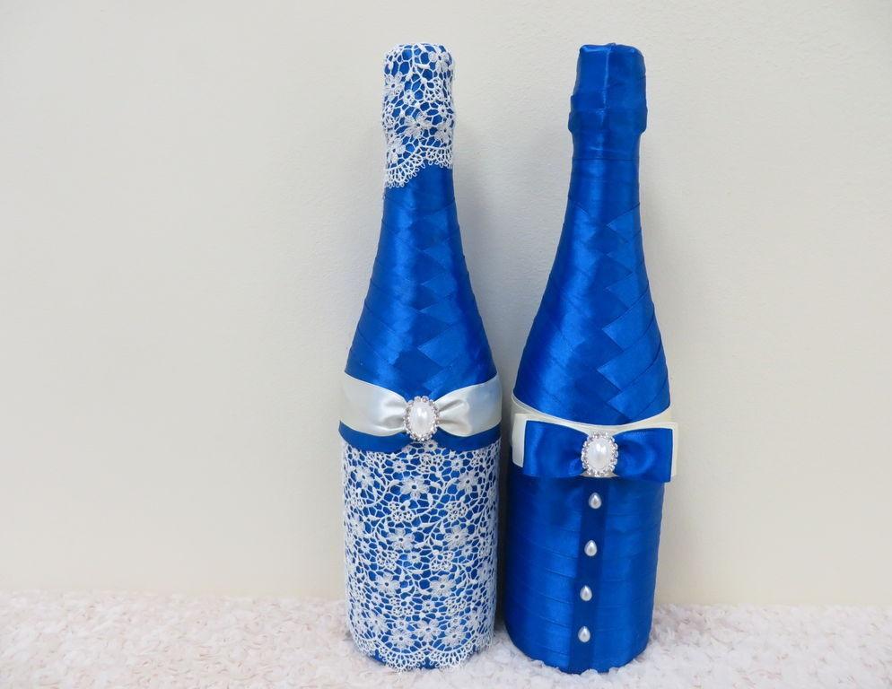 Бутылки из лент на свадьбу