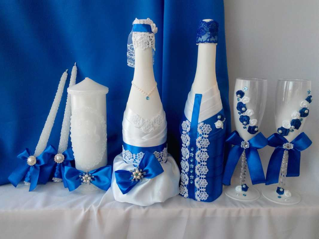 Как украсить бутылка шампанского на свадьбу своими руками 54